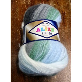 Wool Alize Real 40 col. 4724 - Blue/White/Grey/Green
